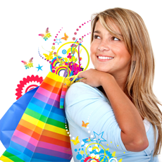Picture of lady with shopping bags